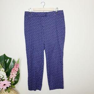 Talbots The Perfect Crop Pants Navy & Polka Dots